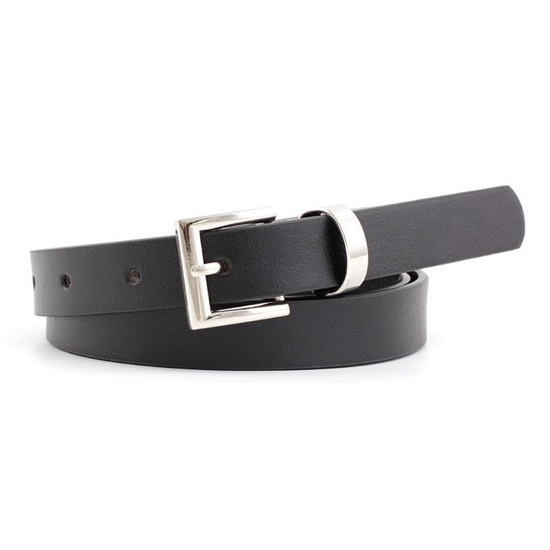 2020 New Designer Women's Narrow Thin Black Brown White Pink Leather Waist Belt Female Vintage Pin Buckle Belts For Women Dress