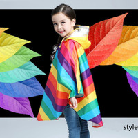 Polyester Girls Rainbow Boys Hooded Outdoors Kids Raincoat Students Children's Raincoats Impermeable Jackets Girls 6P9