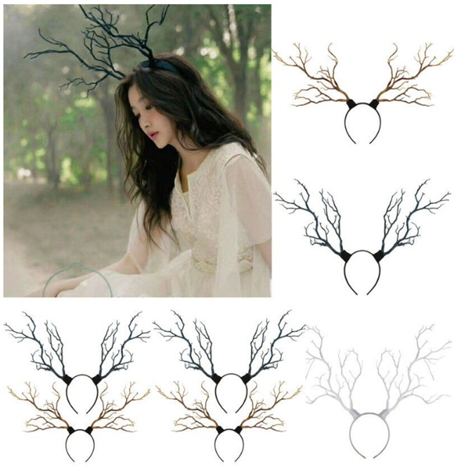 New Deer Horn Headdress Vintage Tree Branches Antlers Fantasy Costume Fairy Fascinator Headpiece Festival Hair Accessory