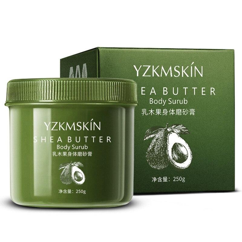 Купить с кэшбэком Natural Shea Body Scrub Exfoliator Gel Facial Peeling Go Dead Skin Whitening Anti Cellulite Treatment Moisturiz Body Care 250g