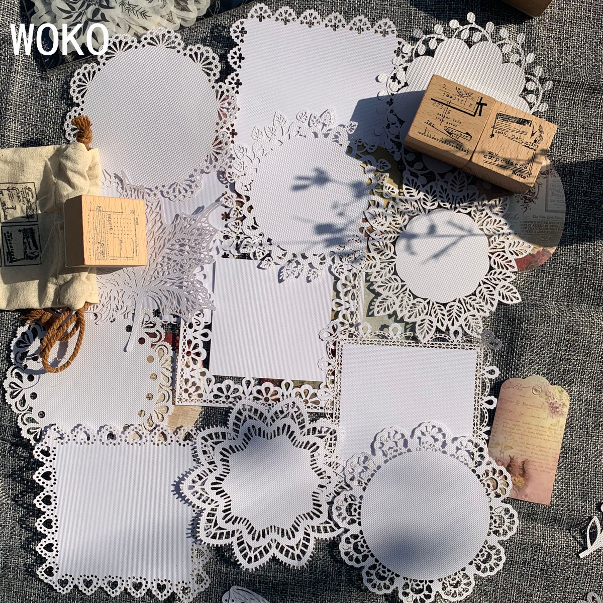 WOKO Retro Alice Background Material Paper Vintage Hollow Lace Paper Label Sticker DIY Scrapbooking Projects Diary Album Escolar