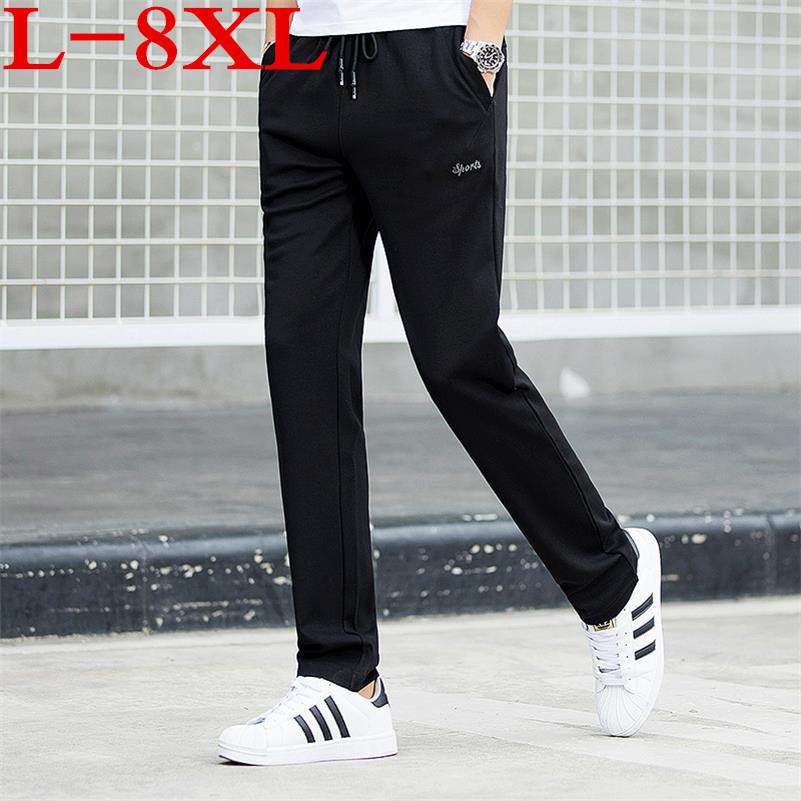 New Plus Size 9XL Casual Men Thin Pants Solid Color Health Pants Loose Breathable Push-up Straight Joggers Men's Sweatpants
