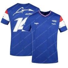 NEW 2021 Spain Alpine F1 Team Motorsport Alonso Racing Car Fans T-Shirt Blue Black Breathable Jersey Short Sleeve Shirt Clothing