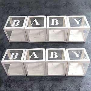 Image 3 - 4 adet/takım 2019 Şeffaf Kutu Lateks Balon BEBEK AŞK Blokları Çocuk Kız Bebek Duş Düğün Doğum Günü Partisi Dekorasyon Zemin