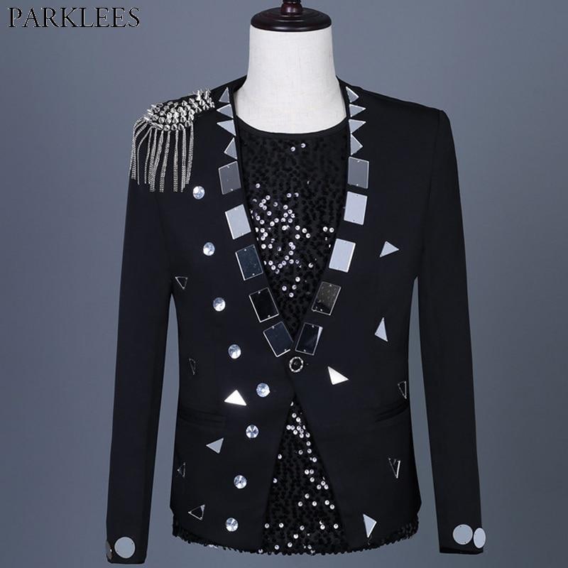Black Punk Stage Blazer Men Shiny Glitter Sequin Mens Suit Jacket Single Button Party Dance Singer Costume Blazer Masculino 3XL