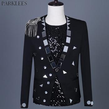 Black Punk Stage Blazer Men Shiny Glitter Sequin Mens Suit Jacket Single Button Party Dance Singer Costume Masculino 3XL - discount item  20% OFF Suits & Blazer