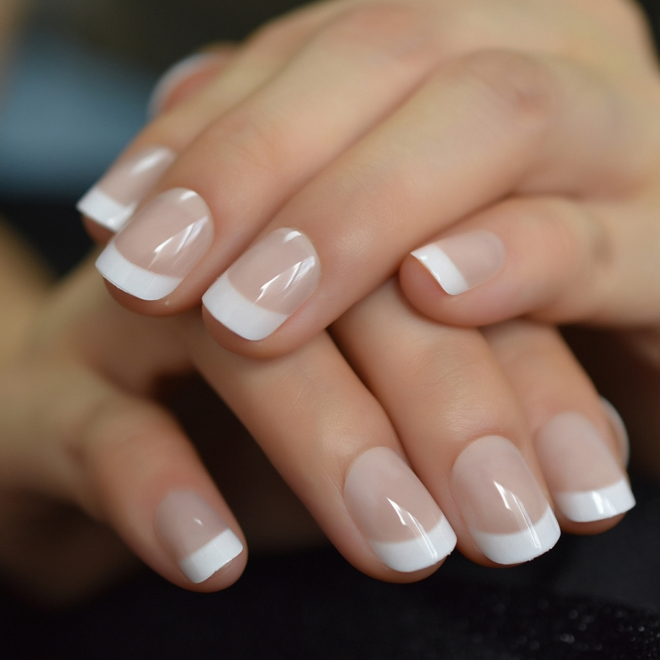 Squoval French Short Nails Nude White Classic Arc Salon Nature