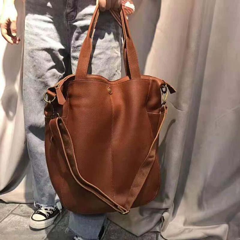 Large Genuine Leather Bag Simple Laptop Handbags Brand Women Shoulder Bag Casual Big Tote Vintage Ladies Crossbody Shopping Bags