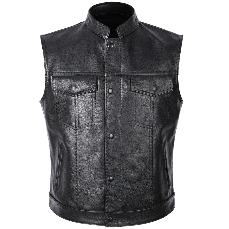 Men's Genuine-Leather Sleeveless Jackets