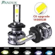 PANDUK 2 шт. H8 H11 лампа H4 светодиодный H7 H1 H3 14000LM Автомобильный светодиодный лампы для передних фар для авто H27 881 HB3 HB4 светодиодный Авто 12V 80W 6000K C6 п...