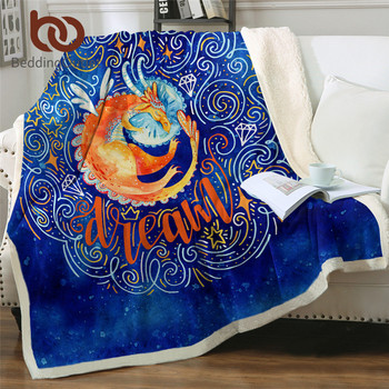 BeddingOutlet Sleeping Dragon Blankets For Bed Watercolor Blue Bedding Fairy Tale Throw Blanket Cartoon Plush Blanket for Kids