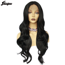 Ebingoo High Temperature Fiber Long Black Natural Wave Synthetic Lace Front Wig Middle Part for Women Daily Use