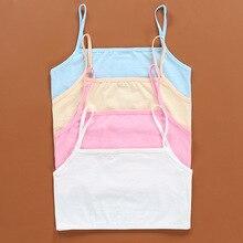 4Pc/lot Kids Underwear 100% Cotton Girls Tank Top Candy Color Undershirt Girls Singlet Baby Camisole Bra Tops Sport