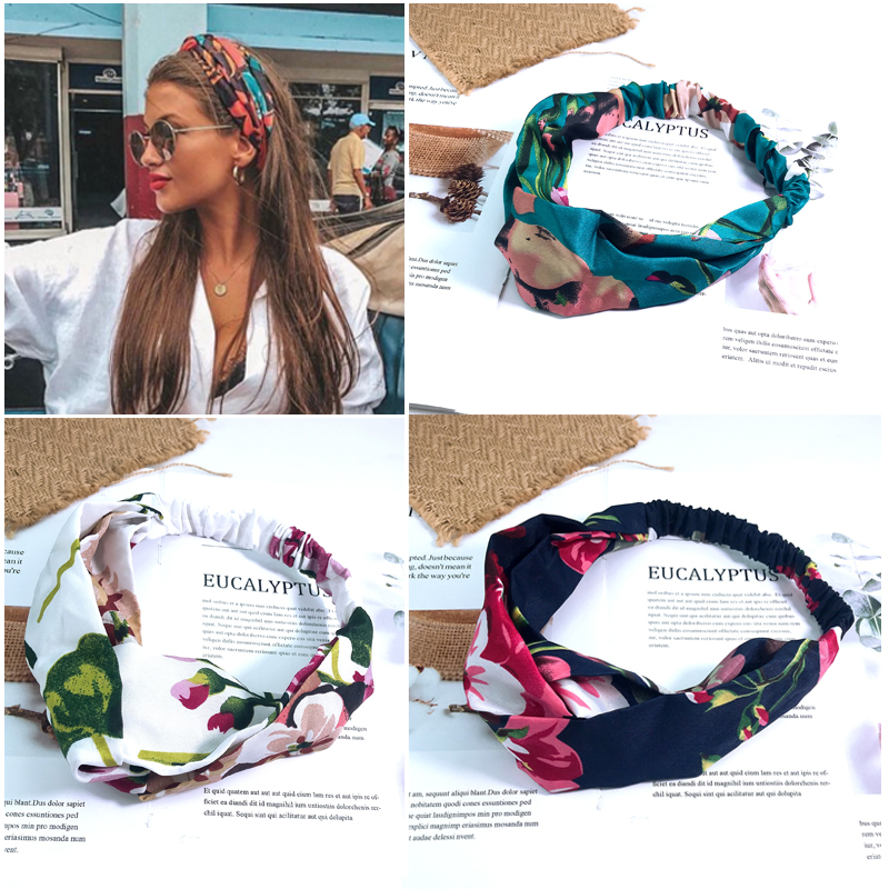 Fashion Bohemia Print Headbands Women Wide Side Cross Knot Turban Elastic Hairband 2019 New Hair Accessories