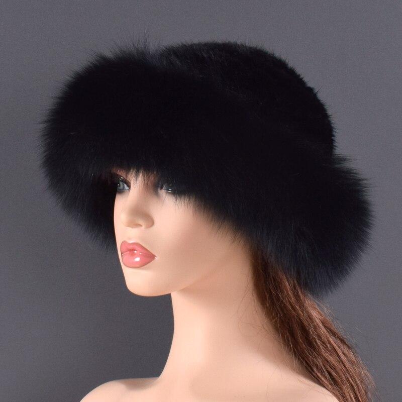 Gorros de piel de visón Real para mujer, sombreros de invierno de piel de zorro auténtica, sombrero de invierno de calidad de lujo, elástico, suave y esponjoso natural sombrero de piel - 6