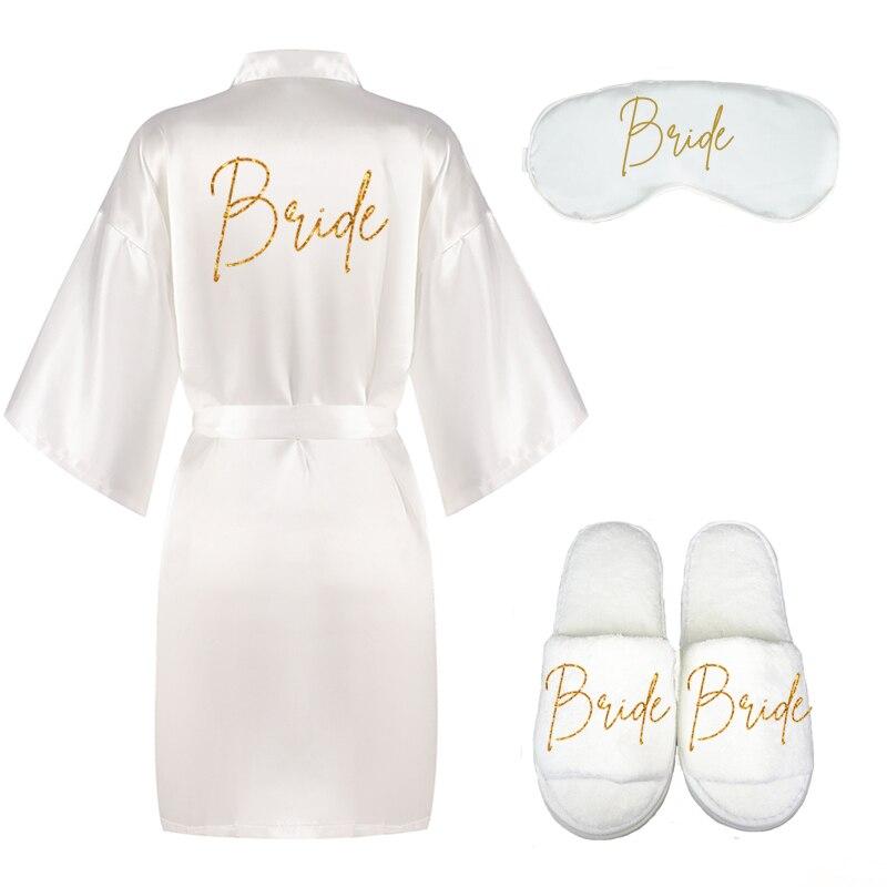 Комплект из 3 предметов; Халат для невесты; Шлёпанцы в виде глаз; champange; Кимоно для невесты; Свадебные вечерние банные халаты для свадьбы