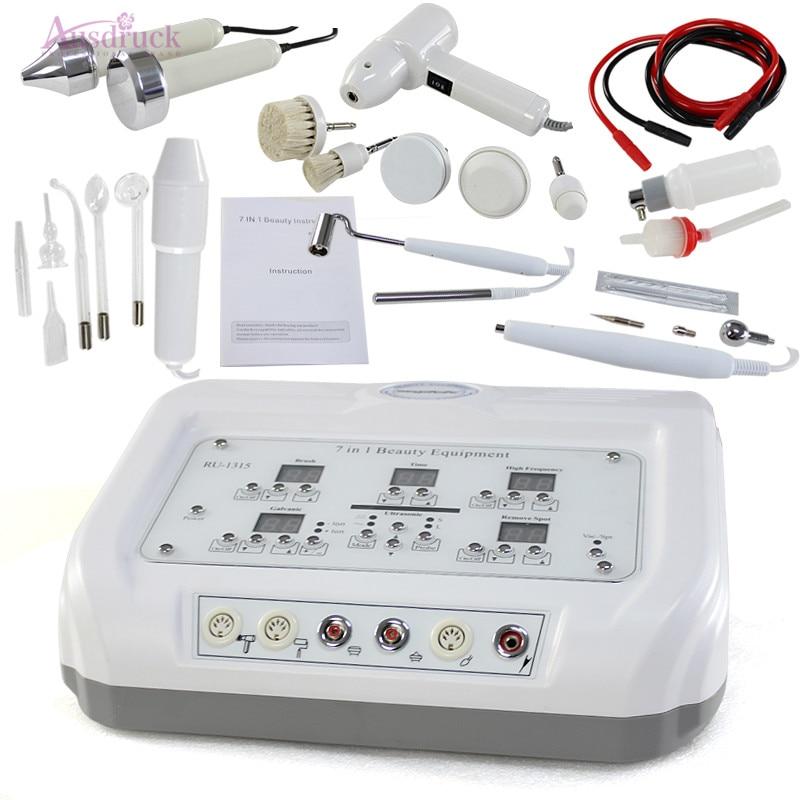 7 In 1 Digital Diamond Microdermabrasion High Frequency Galvanic Current Facial Machine Skin Spa Salon Equipment Rotary Brush Sp