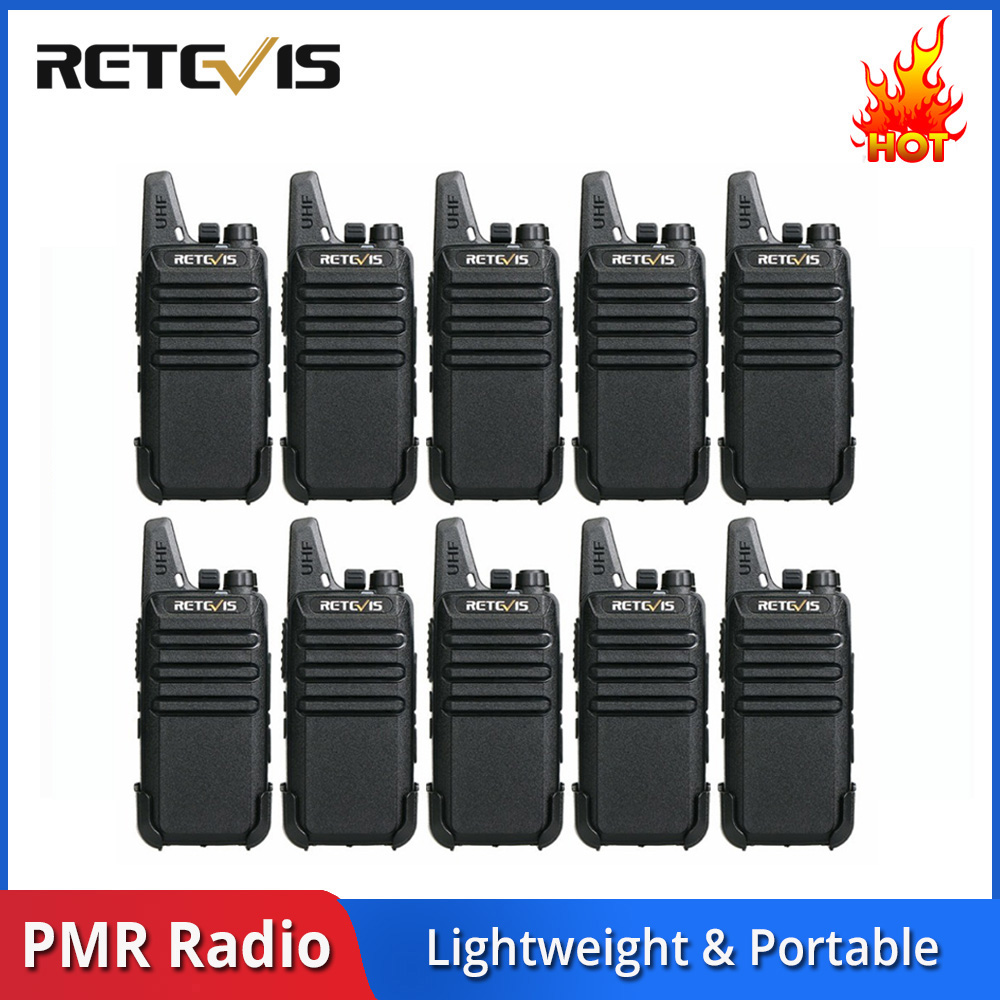 10pcs Retevis RT622 RT22 Mini Walkie Talkie Radio Station 16CH UHF VOX Scan Squelch Two Way Radio Portable + Programming Cable