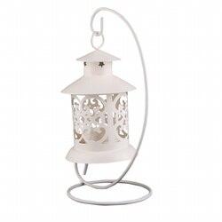 Żelazny styl marokański świecznik świecznik stojący latarnia (biały) w Figurki i miniatury od Dom i ogród na