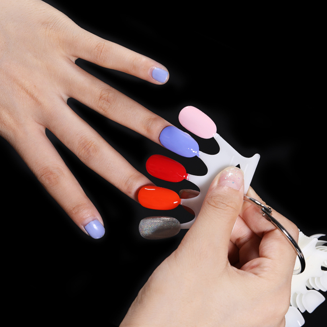 10 pcs/set Round Shaped Color Card Nail Fake Tips Practice Display Full Cover False for Gel Polish Manicure Nail Art Tools
