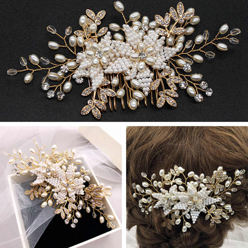 hairpins hand-woven rice bead pearl bride hair accessories wedding hair jewelry  hair comb tiaras barrette  H058