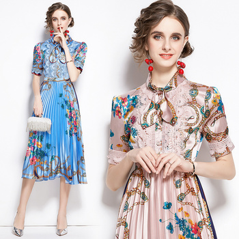 Banulin Summer Runway Designer Bow Neck Pleated Dress Women Lace Patchwork Floral Print Elegant Holiday Midi Dress Vestidos banulin summer runway designer bow neck pleated dress women lace patchwork floral print elegant holiday midi dress vestidos