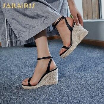 Sarairis On Sale Stylish Luxury Genuine Leather Cow Skin Platform Straw High Heels Wedges Woman Shoes Sandals