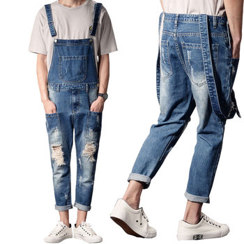 Denim Overalls 2020 New Style Men's Fashion Blue Denim Overalls Men's Casual Thin Sling Workwear Men's Jeans raw hem denim overalls