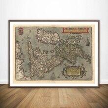 MT2933 mapa Inglaterra reproducción Vintage antiguo cartel pintura arte cartel lienzo impreso decoración del hogar imagen Impresión de pared