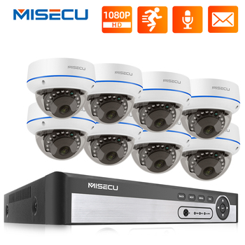 MISECU 8CH 1080P POE Camera System H.265 2MP CCTV Video Security Dome Camera Vandalproof Indoor Audio Record POE IP Camera P2P techage h 265 8ch 2mp poe security camera system 1080p poe nvr kit p2p cctv video surveillance outdoor audio record ip camera