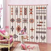Bohemian retro ethnic style pattern half Blackout Curtains For Living room bedroom Curtains Custom any size(China)
