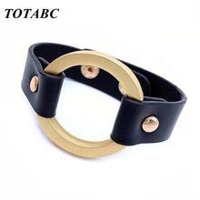 Новый стиль экокожа (полиуретан) кожаные браслеты из нержавеющей