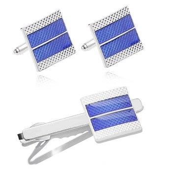 Men's Business  Geometric Square Blue Grid Tie Clips & Cufflinks  5