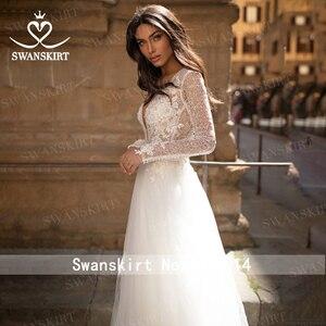 Image 3 - Vintage Long Sleeve Wedding Dress 2020 Appliques Lace A Line Princess Bridal Gown Tulle Illusion Swanskirt I204 Vestido de Noiva