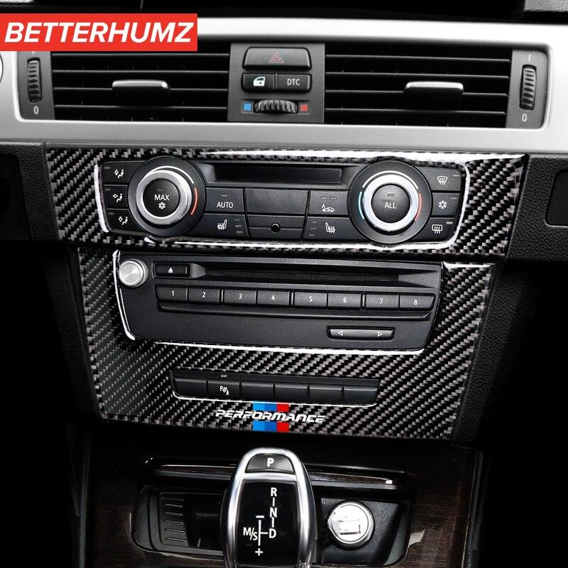 Автомобильный Стайлинг для BMW e90 e92 e93, внутренние молдинги из углеродного волокна, кондиционирование воздуха, крышка CD панели, отделка M, хара...