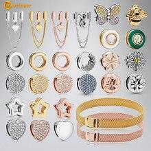 Volayer 925 Sterling Silber Bead Clip Charms Herz Daisy Blume Clip Charme fit Original Pandora Reflexions Armbänder