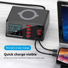 X9 100W 8 Port USB Charger Hub PD Quick Charge 3.0 Adapter LED Digital Display Desktop Charging Station Wireless Charger EU/US