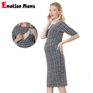 Image 1 - Emotion Moms New Party Maternity Dresses Breastfeeding Clothes Cotton Maternity Clothing for Pregnant Women Summer Dress