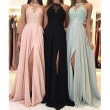 Cheap Price Long Bridesmaid Dresses Side Slit Lace Appliques