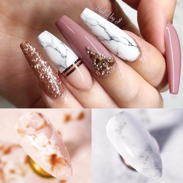 Фото фольга для ногтей мраморная серия розовая синяя фольга бумага