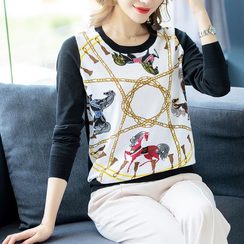 2019 marque de luxe chandail haute qualité automne lâche tricoté pull cheval imprimé pulls femmes o-cou chandails femmes hauts