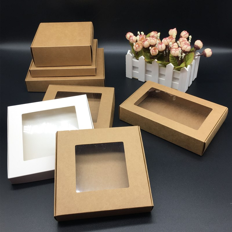 Multi-Size Paper Gifts Packaging Boxes 50pcs Clease Pvc Window Wedding Party Candy Handmade Product Storage Packing Gift Boxes