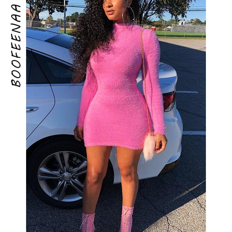 BOOFEENAA Neon Pink Sexy Bodycon Dress Women High Collar Long Sleeve Mini Sweater Dresses 2019 Party Club Dress Vestidos C77-I67