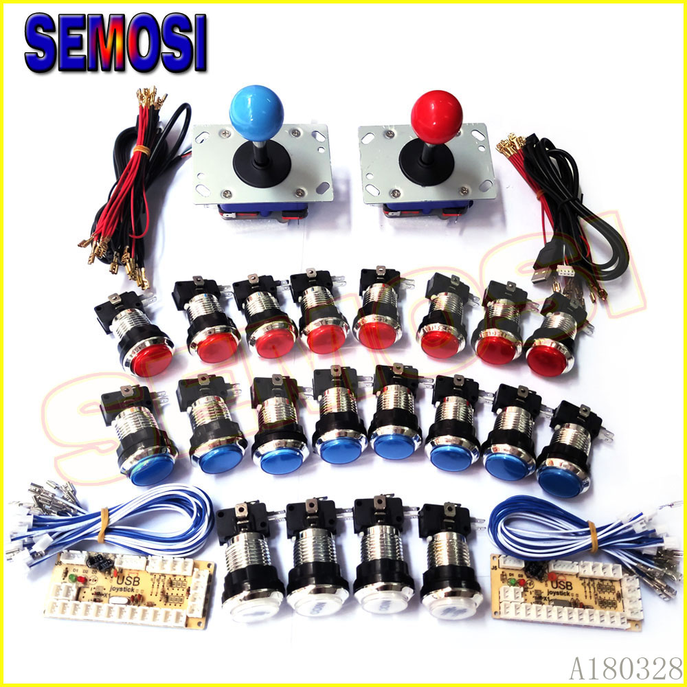 30mm LED Push Button ZIPPY Joystick Arcade Game Control Board DIY Kit To USB Encoder Zero Delay for 2 Players Pandora Machine