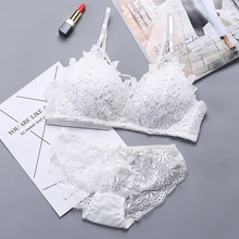 DERUILADY Lingerie Set Lace Embroidery Bra Women Wireless Adjusted Underwear Comfort Seamless Push Up And Panty