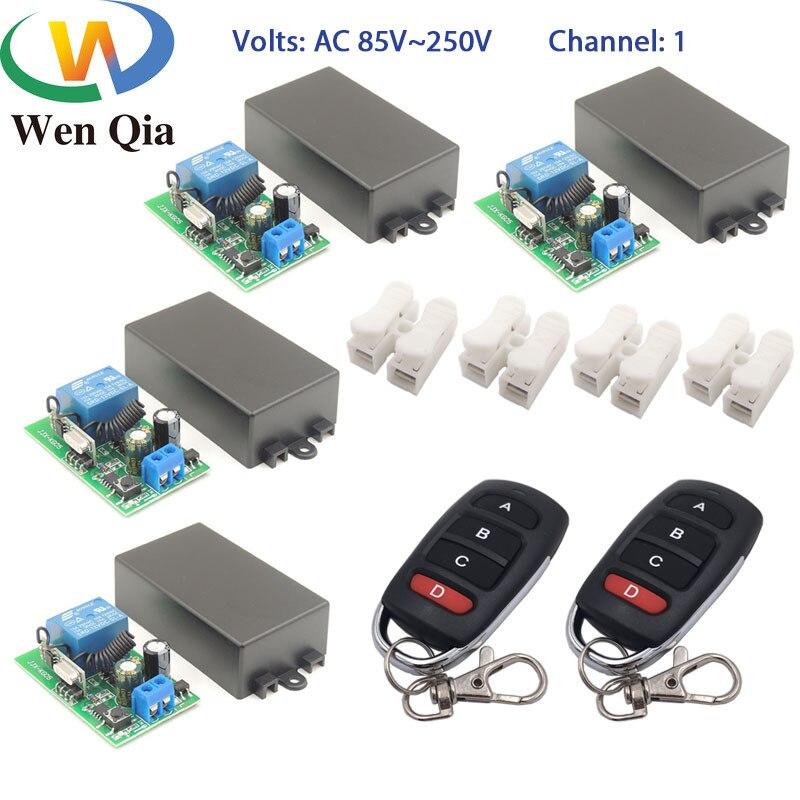 Wenqia-interruptor inteligente de 433MHz, Control remoto RF, CA 85-220V, 1CH, receptor de relé, control para sala de pasillo/Led/luz, mientras tanto