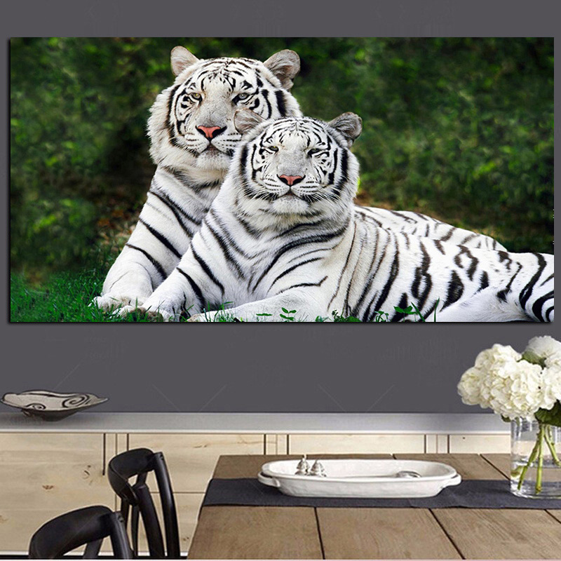 Wild Animal Love Couple Tiger Abstract Oil Painting on Canvas Poster and Print Modern Wall Picture for Living Room Cuadros