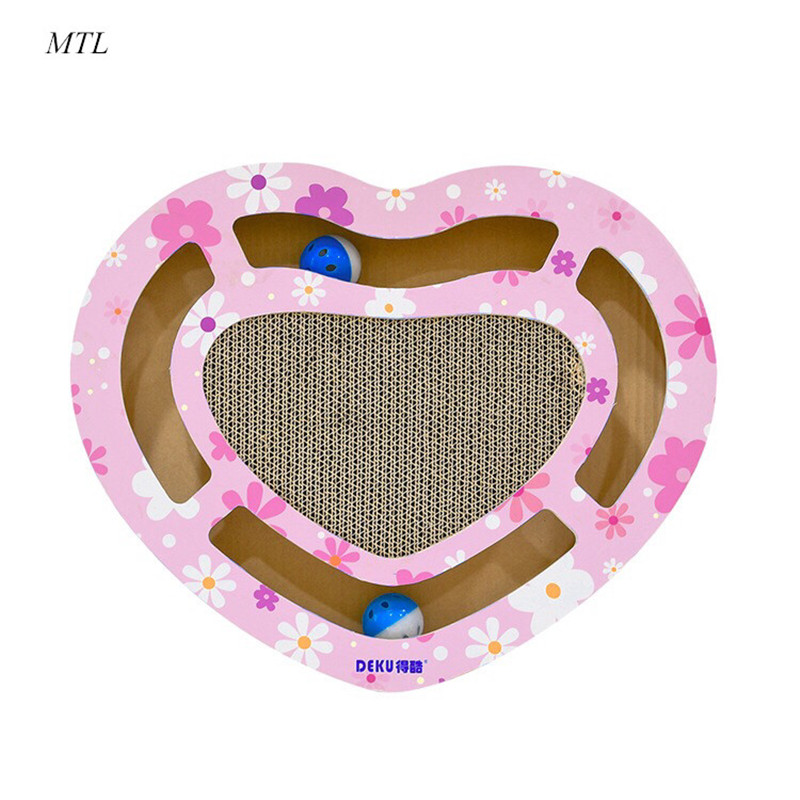 MTL KENNEL Pet Cat Corrugated Paper Scraper Board Kitten Scratching Post with bell For Cats Scratcher