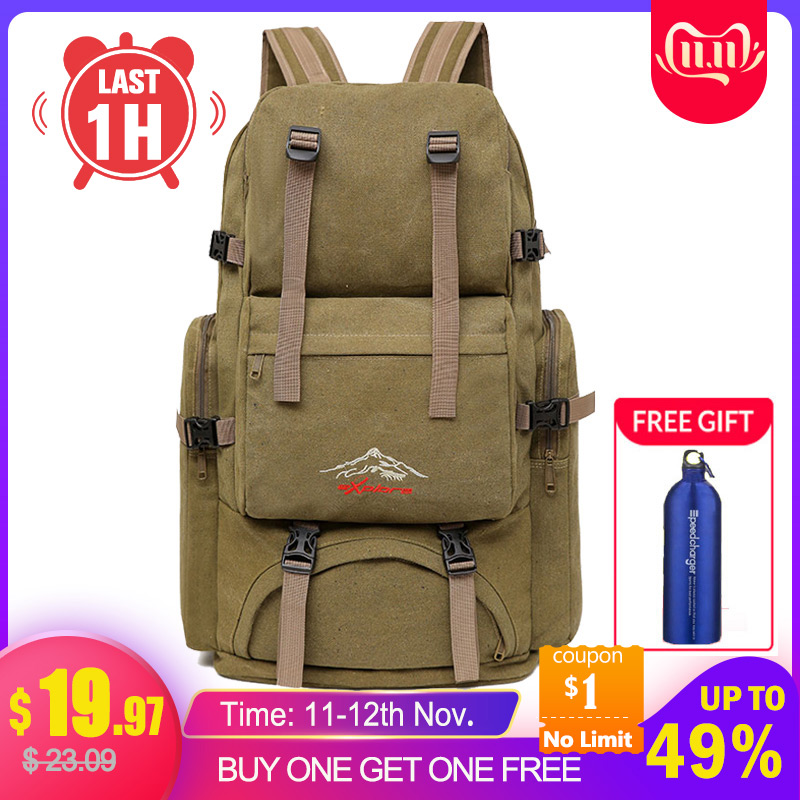 60L Large Camping Bag Traveling Backpack Canvas Army Military Bags Luggage Multi-function Climbing Mochila Men Hiking Tas XA26D