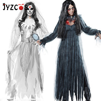 JYZCOS Halloween Dresses Horror Ghost Bride Zombie Costume Disfraz Mujer Game Dress Bar Stage Witch Demon Cosplay Women Clothing